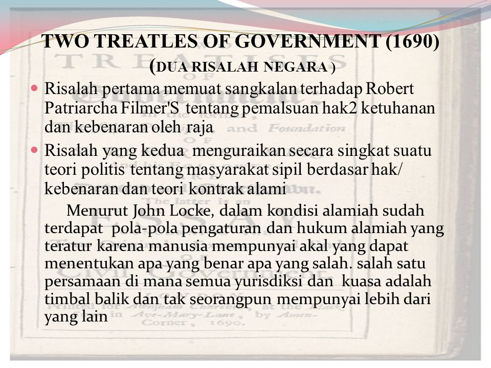 TWO TREATLES OF GOVERNMENT (1690) (DUA RISALAH NEGARA )
