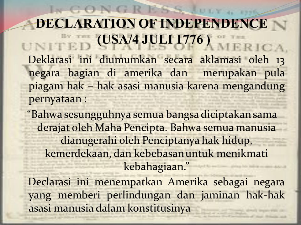 DECLARATION OF INDEPENDENCE (USA/4 JULI 1776 )