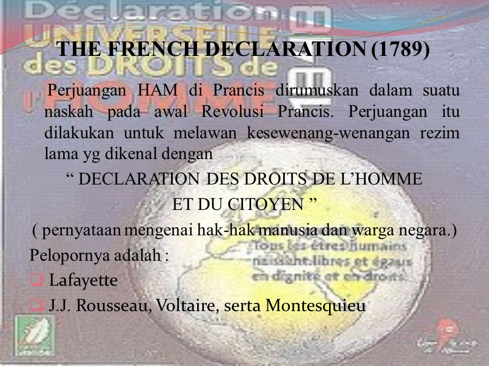 THE FRENCH DECLARATION (1789)