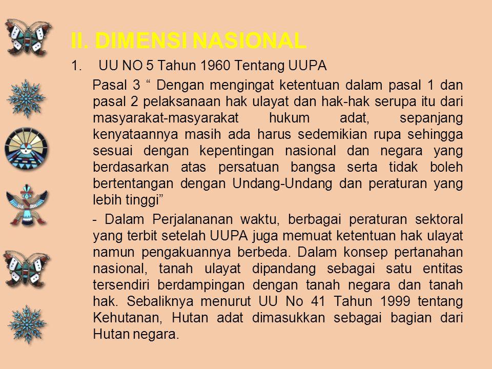 II. DIMENSI NASIONAL UU NO 5 Tahun 1960 Tentang UUPA