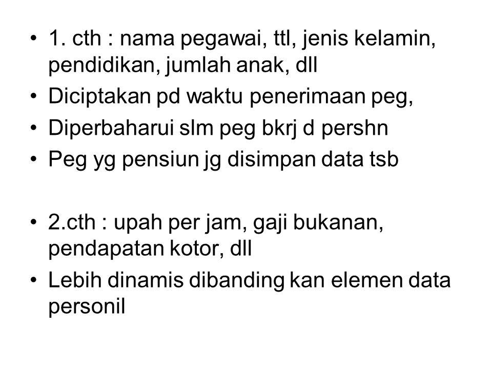 1. cth : nama pegawai, ttl, jenis kelamin, pendidikan, jumlah anak, dll