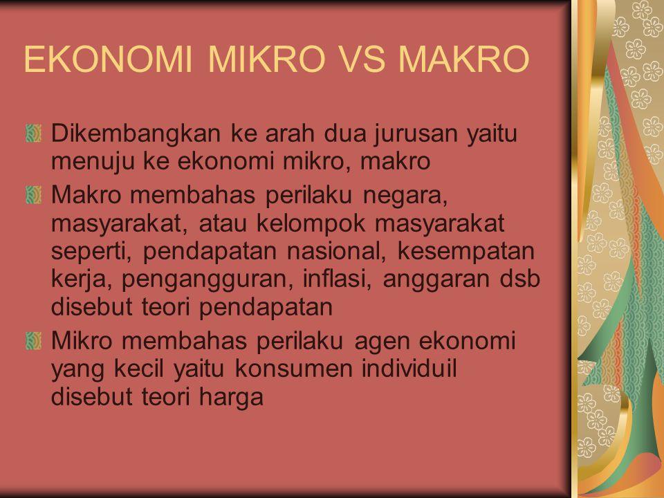 EKONOMI MIKRO VS MAKRO Dikembangkan ke arah dua jurusan yaitu menuju ke ekonomi mikro, makro.