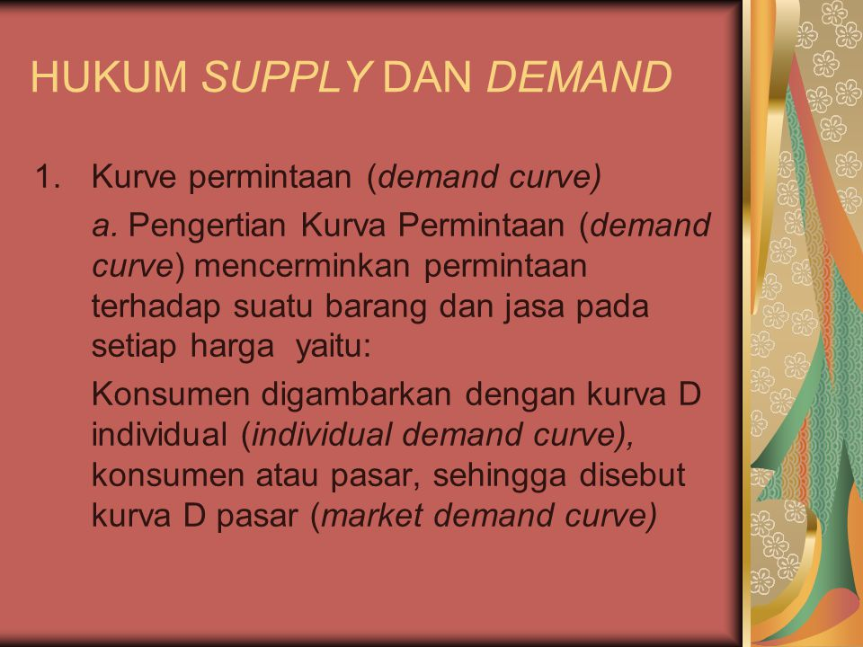 HUKUM SUPPLY DAN DEMAND
