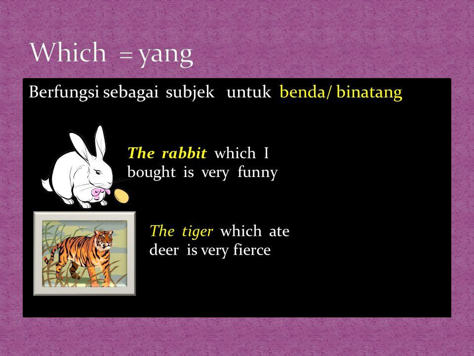 Which = yang Berfungsi sebagai subjek untuk benda/ binatang