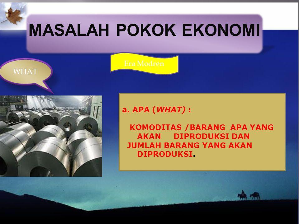 MASALAH POKOK EKONOMI Era Modren WHAT a. APA (WHAT) :