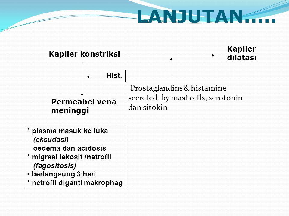 LANJUTAN..... Kapiler. dilatasi. Kapiler konstriksi. Hist. Prostaglandins & histamine secreted by mast cells, serotonin dan sitokin.