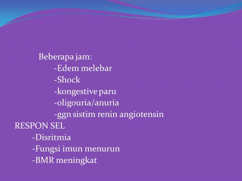 Beberapa jam: -Edem melebar -Shock -kongestive paru -oligouria/anuria -ggn sistim renin angiotensin RESPON SEL -Disritmia -Fungsi imun menurun -BMR meningkat