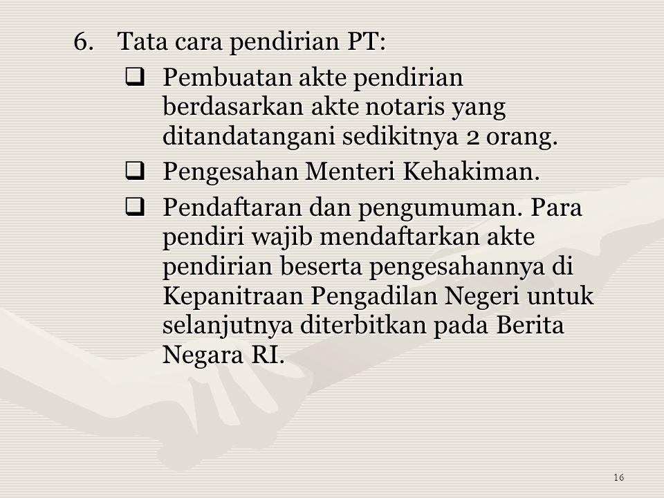 Tata cara pendirian PT: