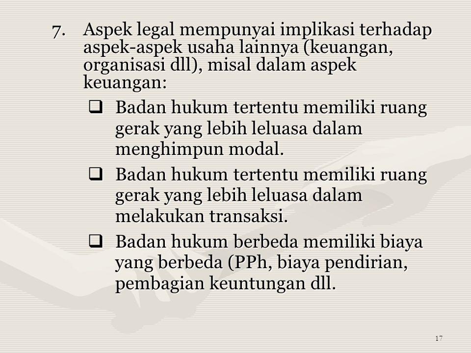 Aspek legal mempunyai implikasi terhadap aspek-aspek usaha lainnya (keuangan, organisasi dll), misal dalam aspek keuangan: