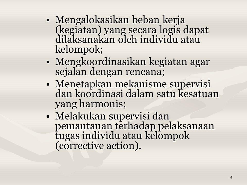 Mengalokasikan beban kerja (kegiatan) yang secara logis dapat dilaksanakan oleh individu atau kelompok;