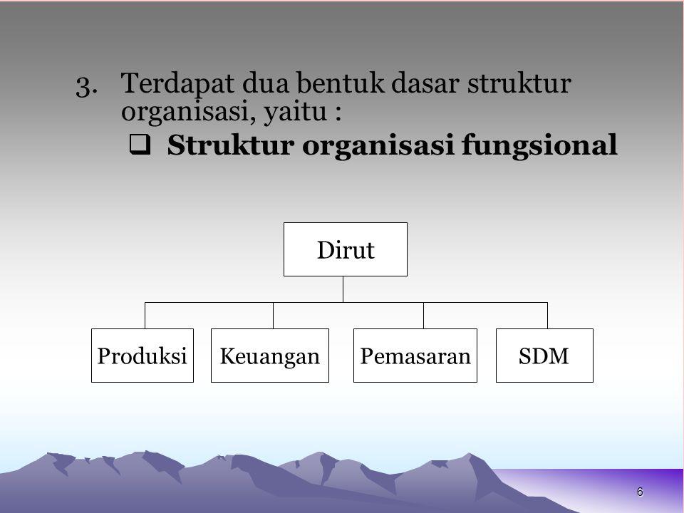 Terdapat dua bentuk dasar struktur organisasi, yaitu :