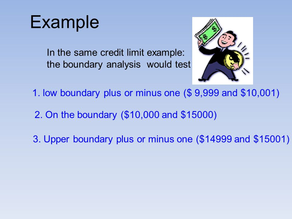 Example In the same credit limit example: