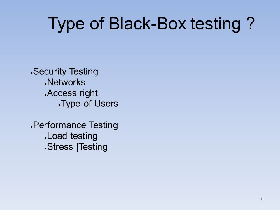 Type of Black-Box testing