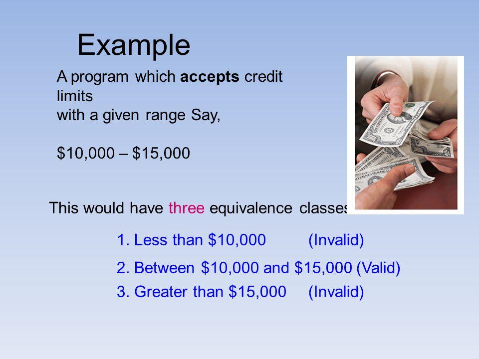 Example A program which accepts credit limits. with a given range Say, $10,000 – $15,000. This would have three equivalence classes:-