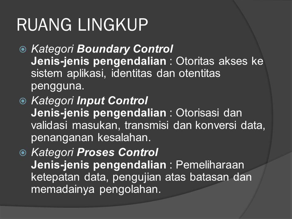 RUANG LINGKUP Kategori Boundary Control Jenis-jenis pengendalian : Otoritas akses ke sistem aplikasi, identitas dan otentitas pengguna.