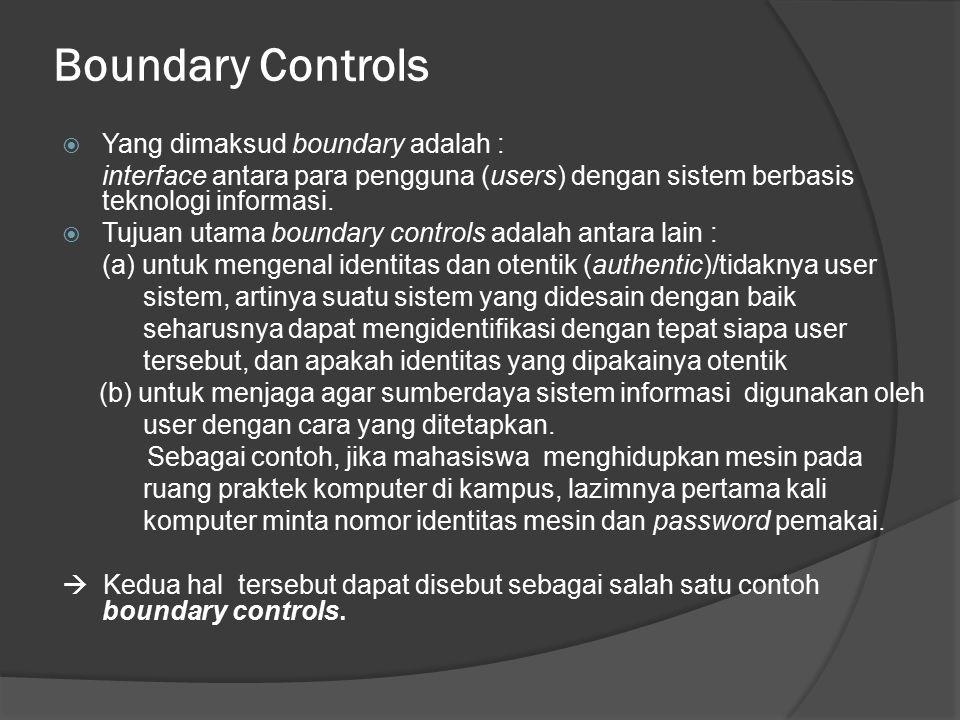 Boundary Controls Yang dimaksud boundary adalah :