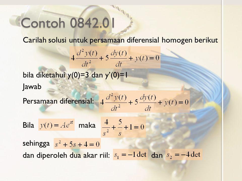 Contoh 0842.01 Carilah solusi untuk persamaan diferensial homogen berikut. bila diketahui y(0)=3 dan y'(0)=1.