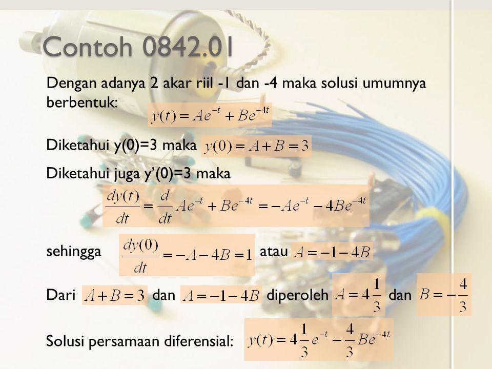 Contoh 0842.01 Dengan adanya 2 akar riil -1 dan -4 maka solusi umumnya berbentuk: Diketahui y(0)=3 maka.