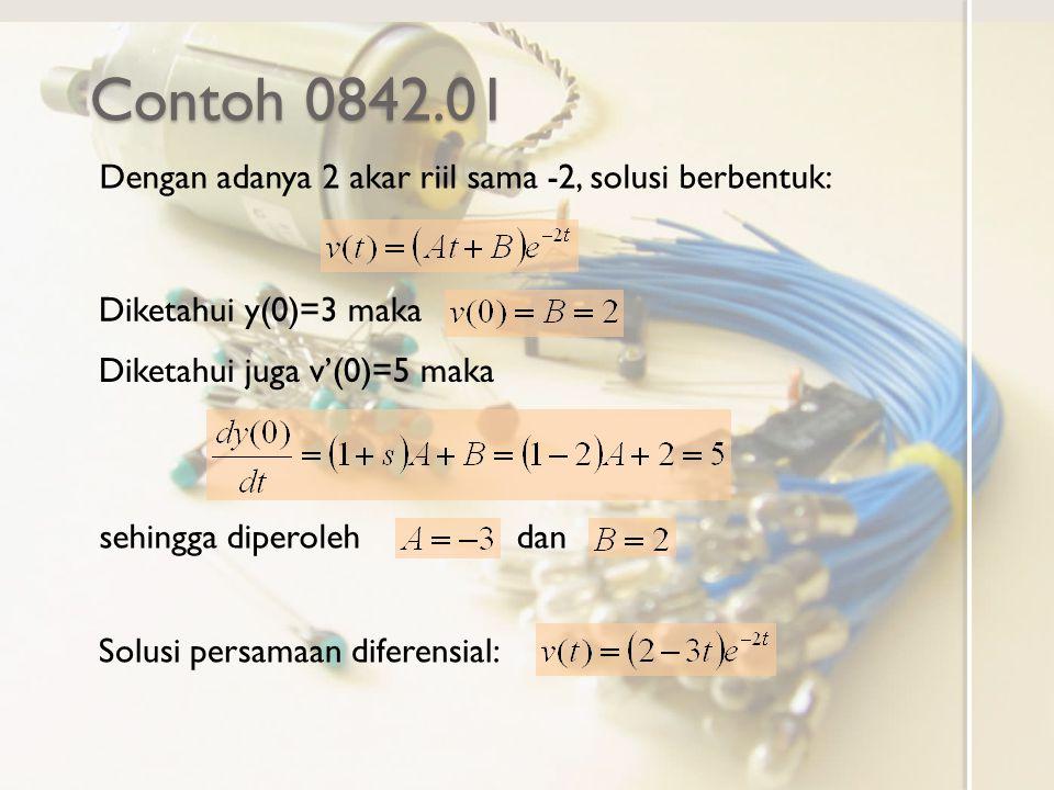 Contoh 0842.01 Dengan adanya 2 akar riil sama -2, solusi berbentuk: