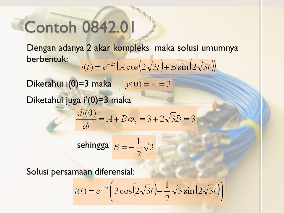 Contoh 0842.01 Dengan adanya 2 akar kompleks maka solusi umumnya berbentuk: Diketahui i(0)=3 maka.