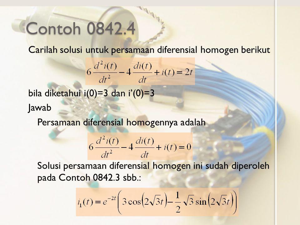 Contoh 0842.4 Carilah solusi untuk persamaan diferensial homogen berikut. bila diketahui i(0)=3 dan i'(0)=3.