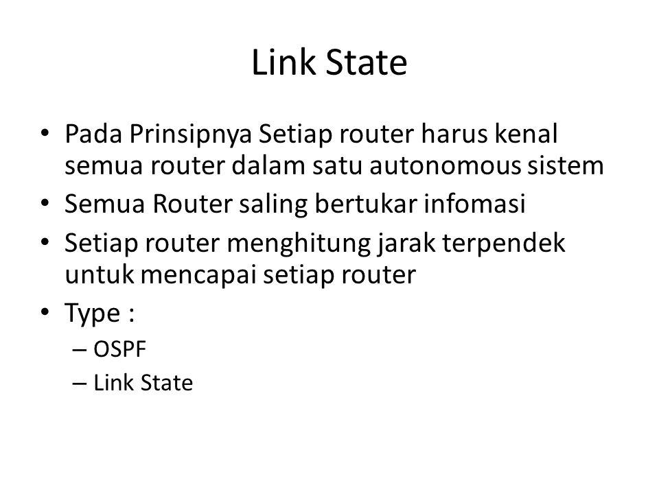 Link State Pada Prinsipnya Setiap router harus kenal semua router dalam satu autonomous sistem. Semua Router saling bertukar infomasi.