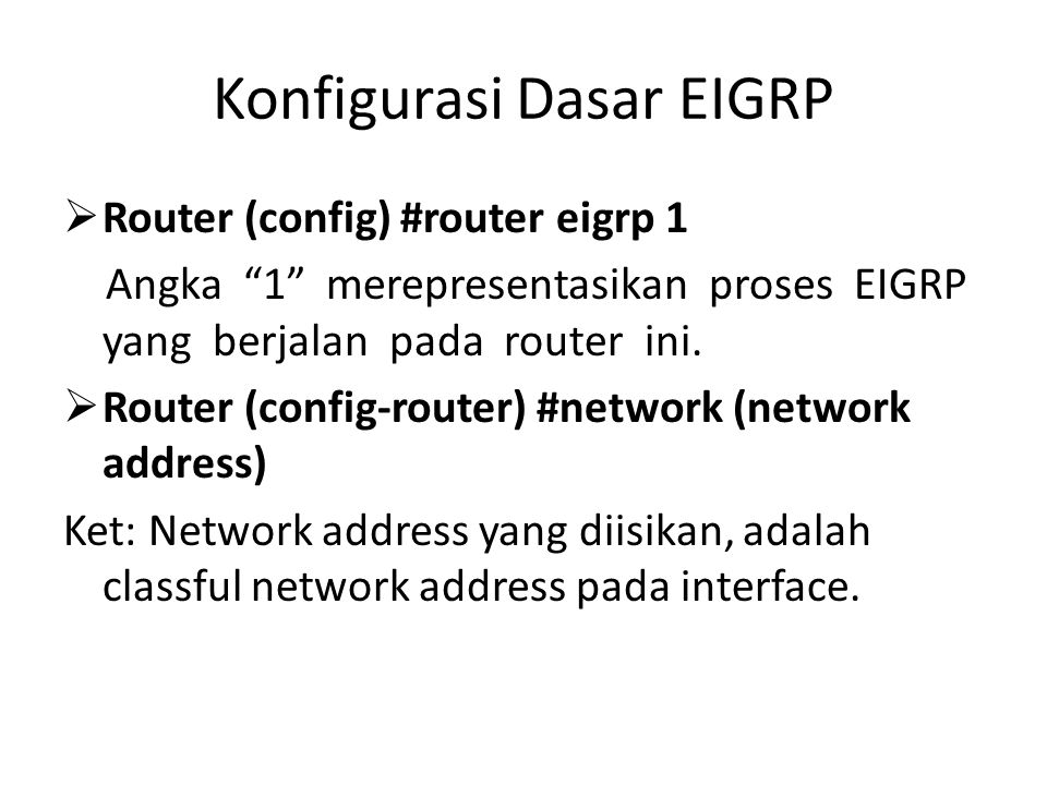 Konfigurasi Dasar EIGRP