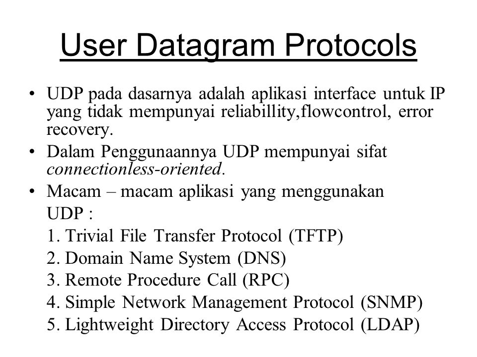 User Datagram Protocols