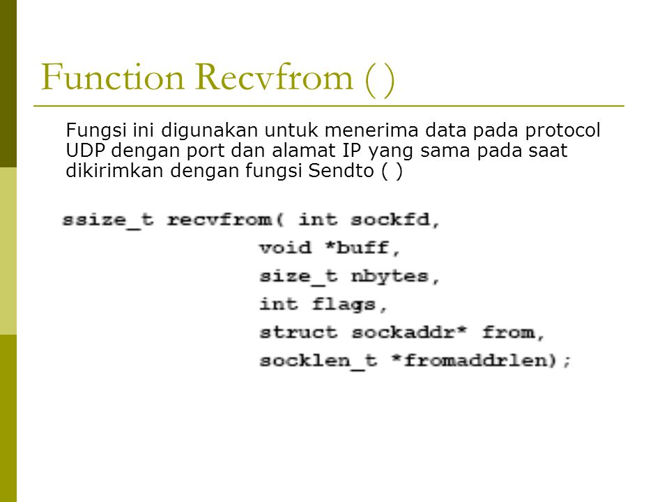 Function Recvfrom ( )