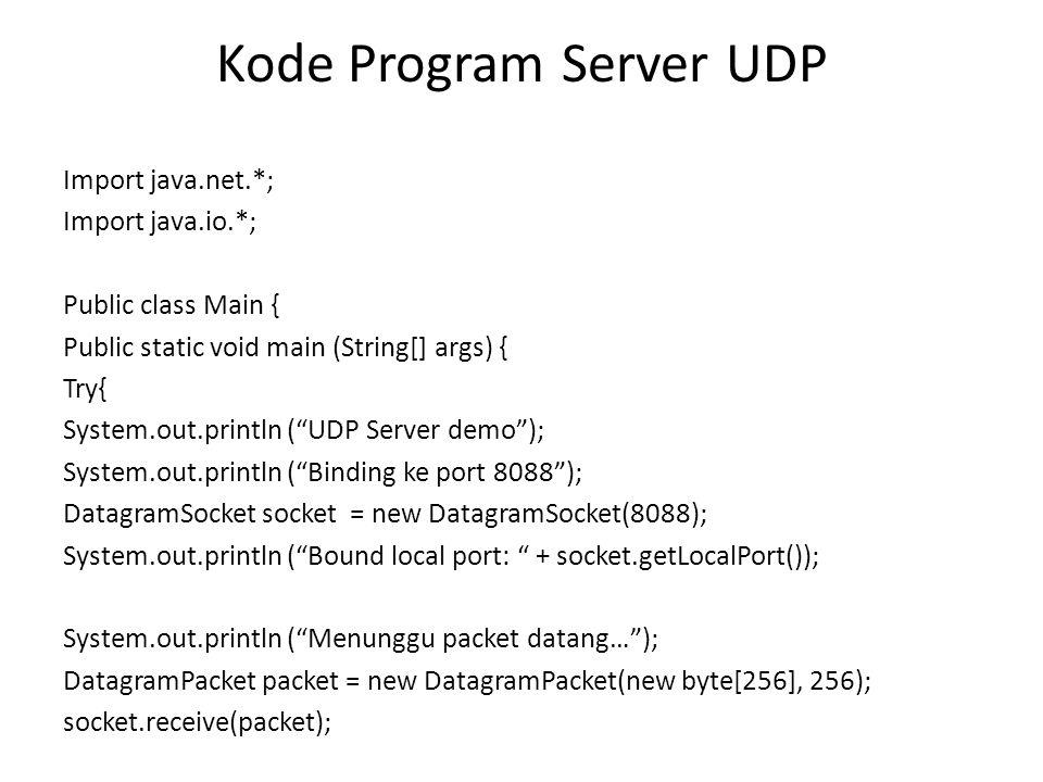 Kode Program Server UDP