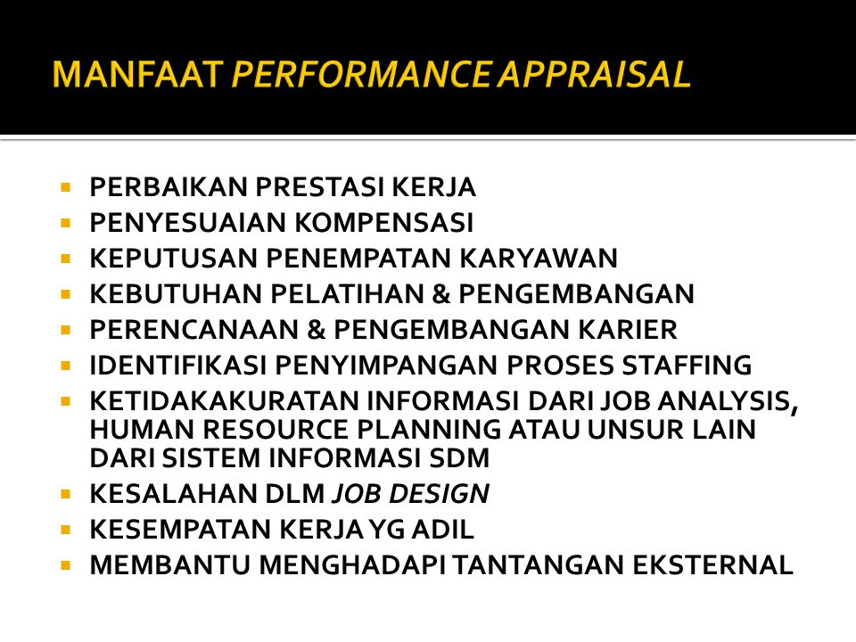 MANFAAT PERFORMANCE APPRAISAL