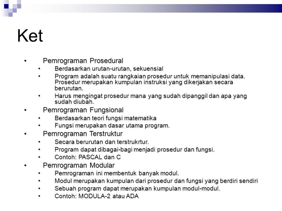 Ket Pemrograman Prosedural Pemrograman Fungsional