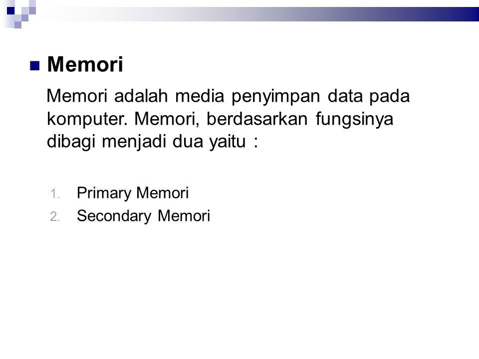 Memori Memori adalah media penyimpan data pada komputer. Memori, berdasarkan fungsinya dibagi menjadi dua yaitu :