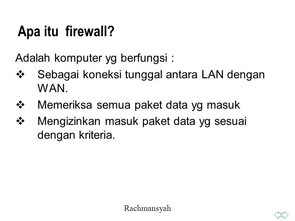 Apa itu firewall Adalah komputer yg berfungsi :