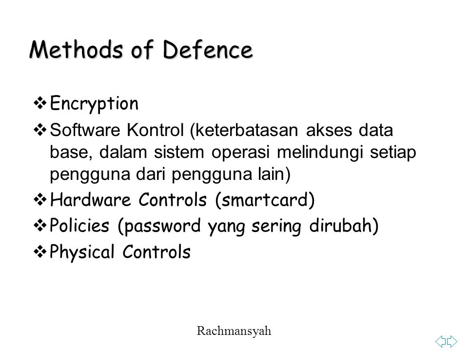 Methods of Defence Encryption