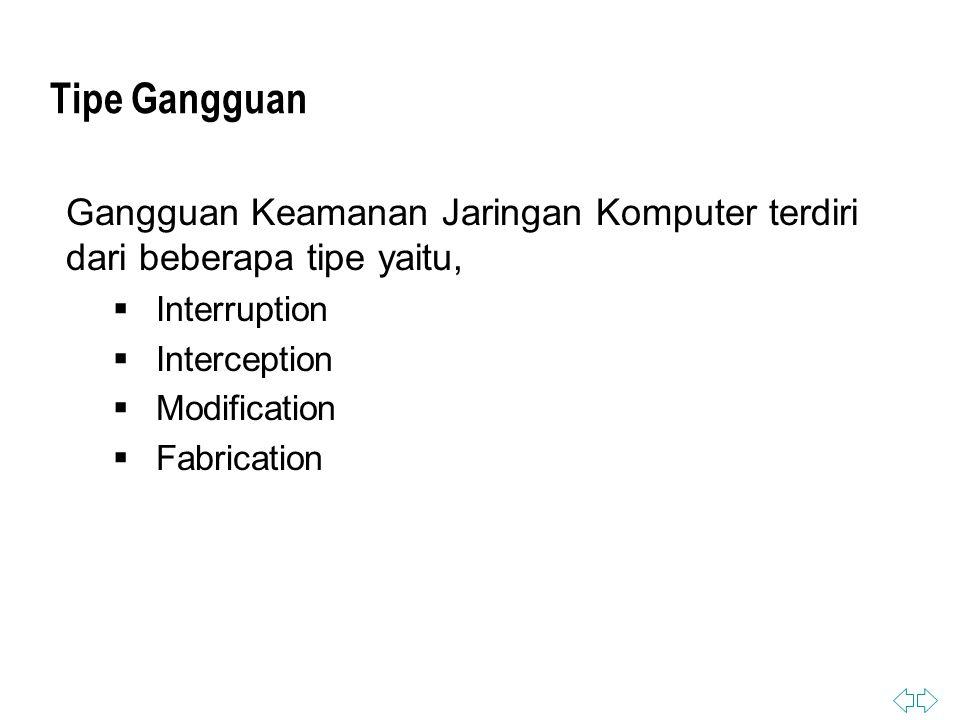 Tipe Gangguan Gangguan Keamanan Jaringan Komputer terdiri dari beberapa tipe yaitu, Interruption. Interception.