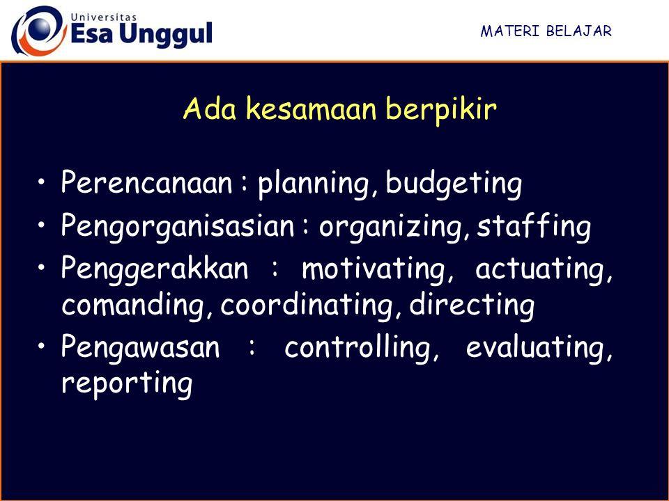 Perencanaan : planning, budgeting
