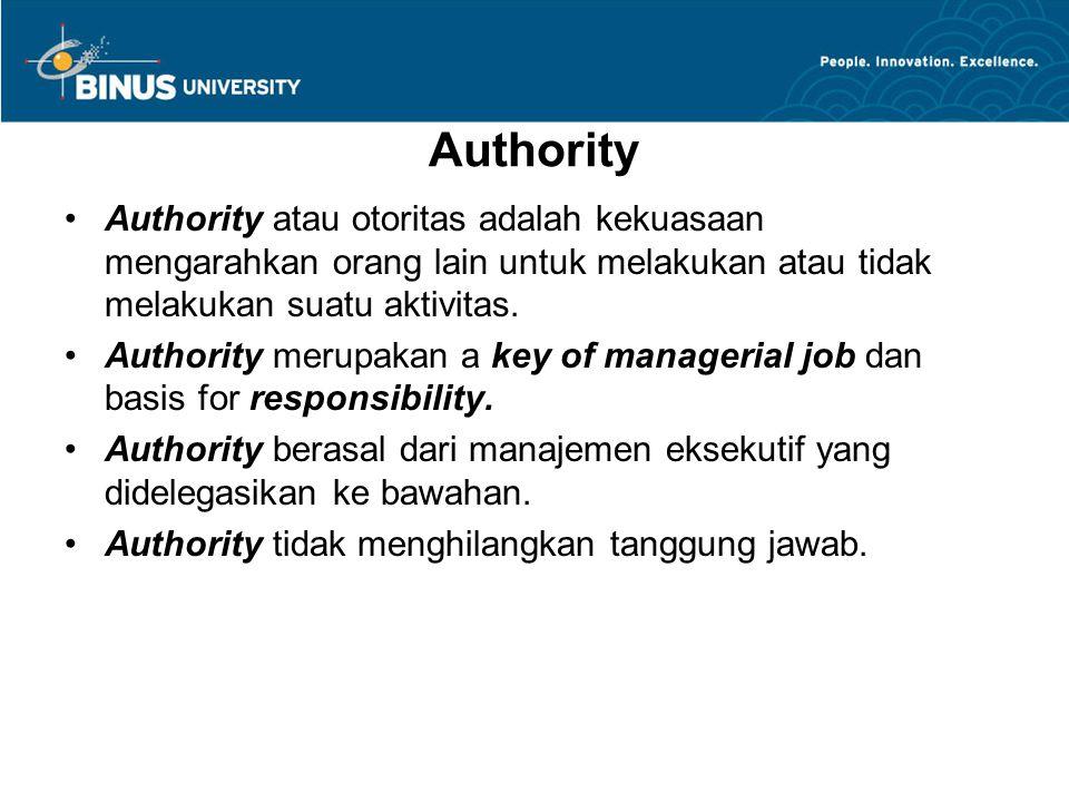 Authority Authority atau otoritas adalah kekuasaan mengarahkan orang lain untuk melakukan atau tidak melakukan suatu aktivitas.