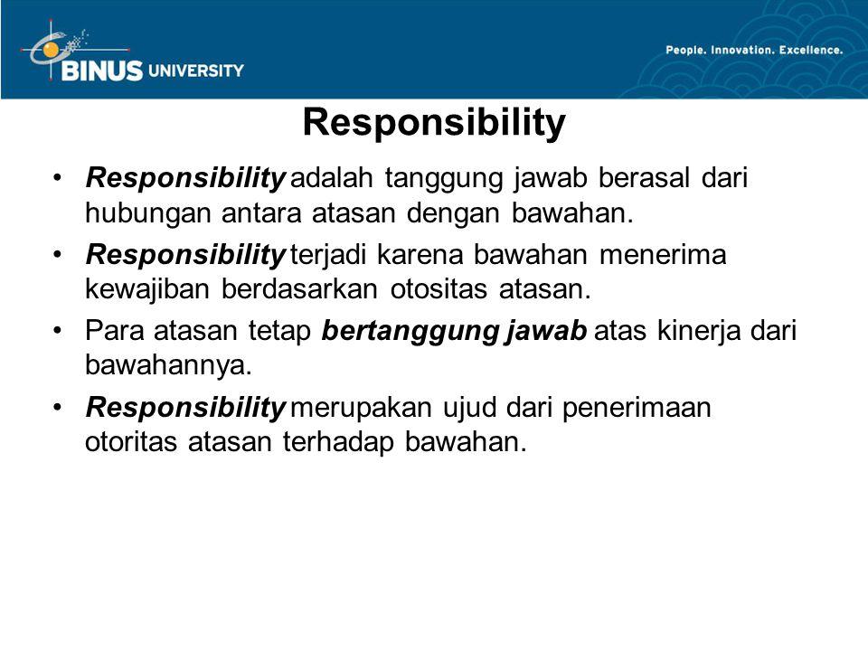Responsibility Responsibility adalah tanggung jawab berasal dari hubungan antara atasan dengan bawahan.