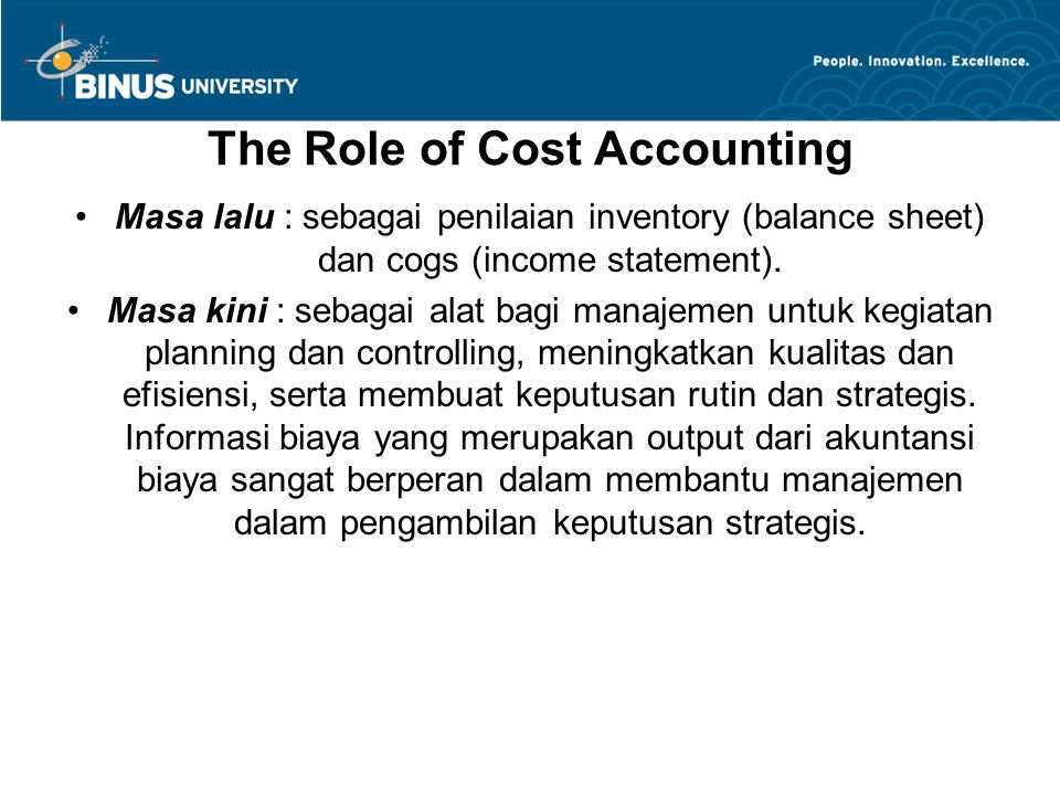 The Role of Cost Accounting