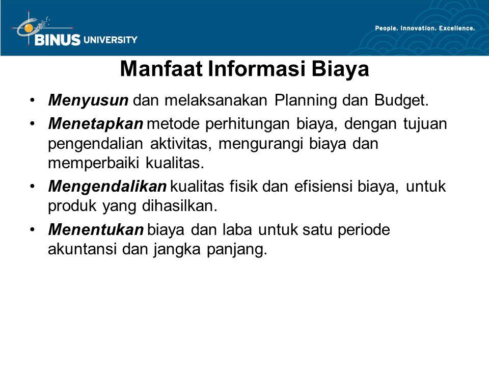 Manfaat Informasi Biaya