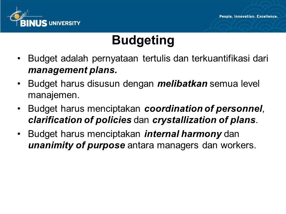 Budgeting Budget adalah pernyataan tertulis dan terkuantifikasi dari management plans. Budget harus disusun dengan melibatkan semua level manajemen.