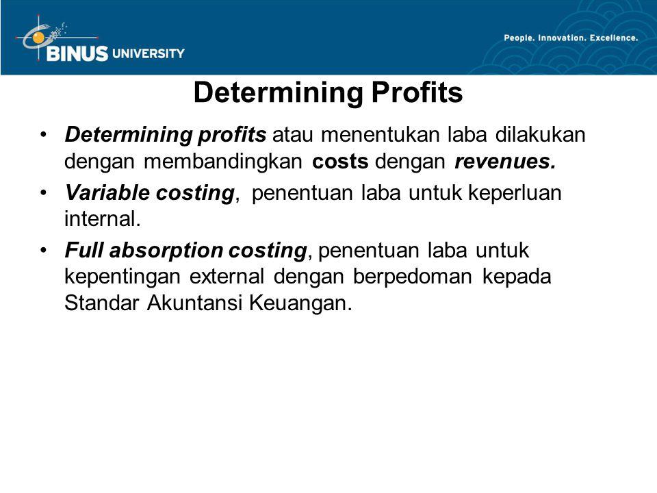 Determining Profits Determining profits atau menentukan laba dilakukan dengan membandingkan costs dengan revenues.
