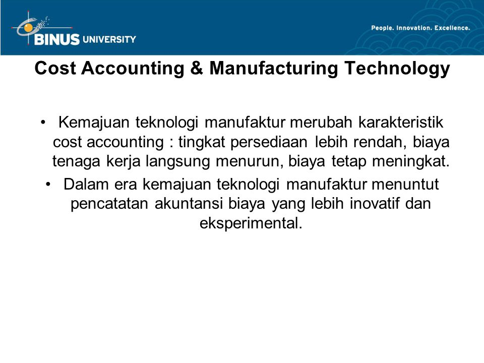 Cost Accounting & Manufacturing Technology