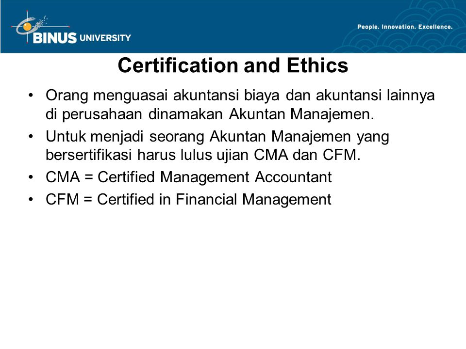 Certification and Ethics