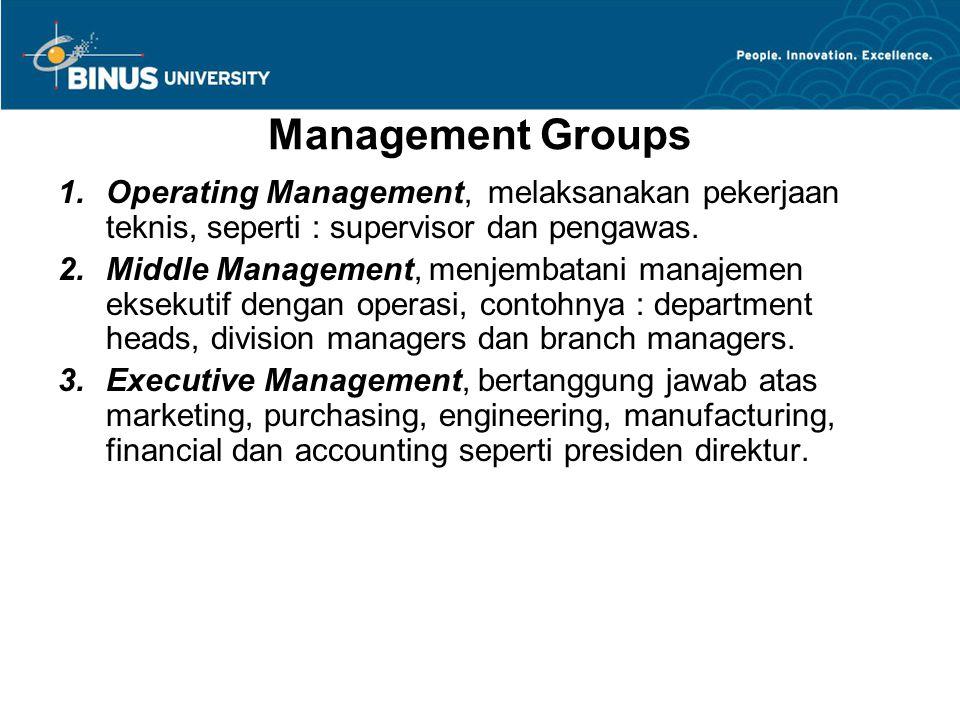 Management Groups Operating Management, melaksanakan pekerjaan teknis, seperti : supervisor dan pengawas.