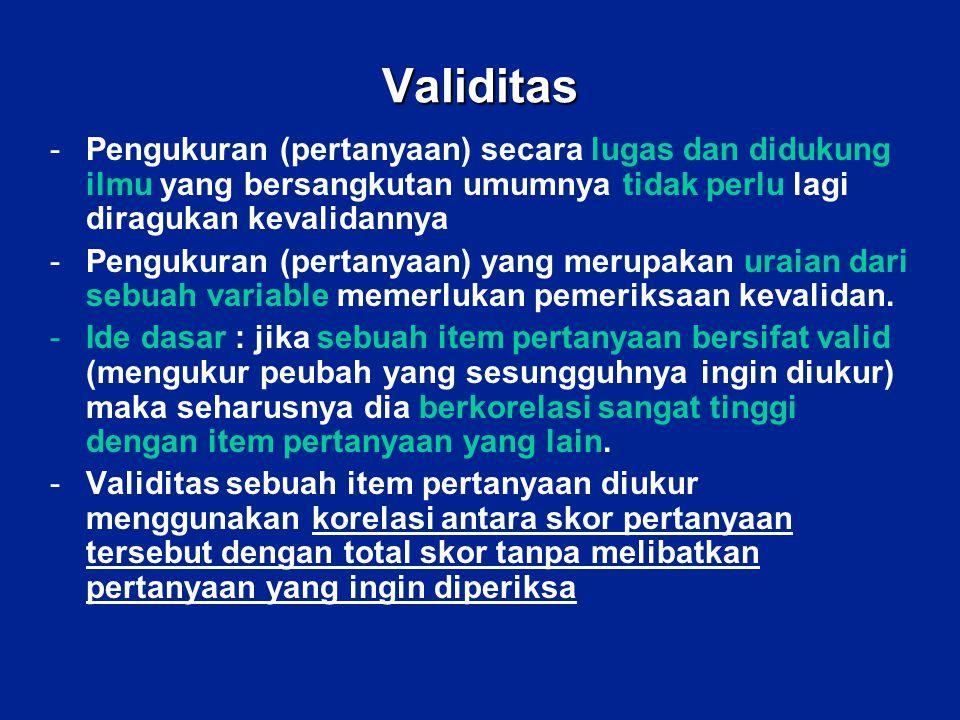 Validitas Pengukuran (pertanyaan) secara lugas dan didukung ilmu yang bersangkutan umumnya tidak perlu lagi diragukan kevalidannya.