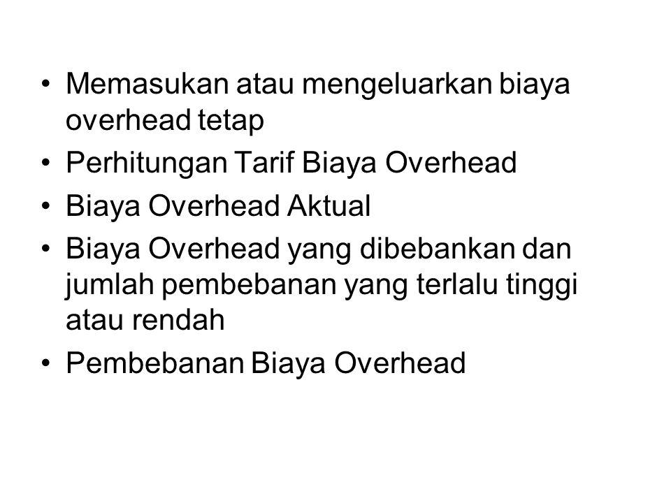 Memasukan atau mengeluarkan biaya overhead tetap