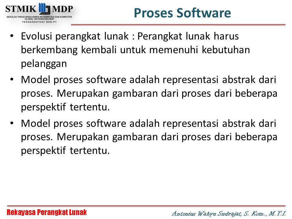Proses Software Evolusi perangkat lunak : Perangkat lunak harus berkembang kembali untuk memenuhi kebutuhan pelanggan.