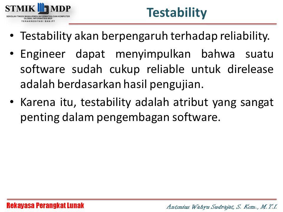 Testability Testability akan berpengaruh terhadap reliability.